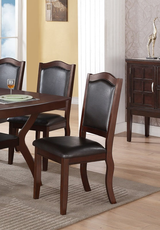 Poundex Espresso Wood Finish 2 Piece Dining Chair