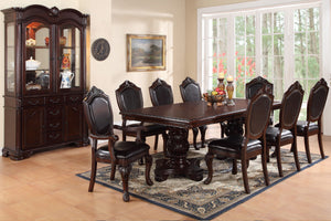 Poundex Cherry Wood Finish 9 Piece Dining Table Set