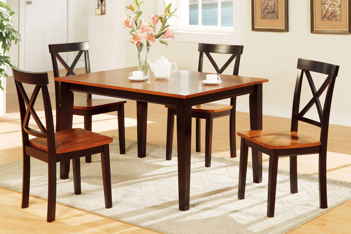 Poundex Dark Oak Wood Finish 5 Piece Dining Table Set