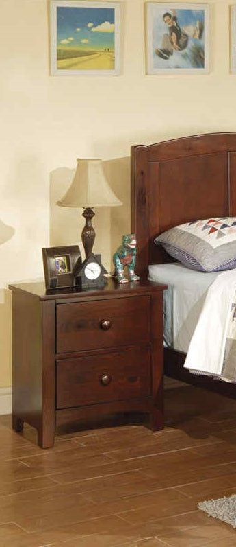 Poundex Dark Oak Wood Finish 2 Drawer Nightstand