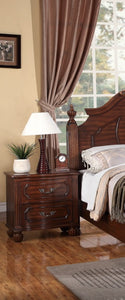 Poundex Brown Wood 2 Drawer Finish Nightstand
