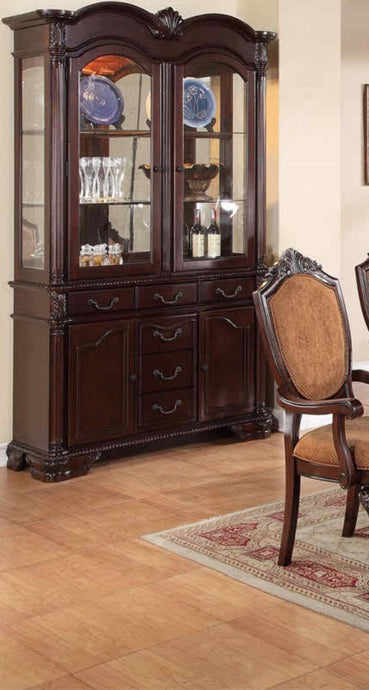 Poundex F6069 Cherry Veneer Dining Buffet And Hutch