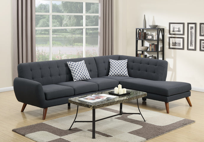 Poundex Ash Black Polyfiber Sectional Sofa