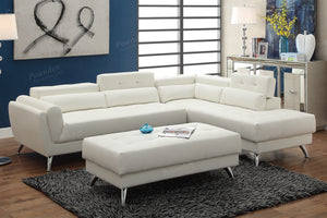 Poundex White Bonded Leather Sectional Sofa