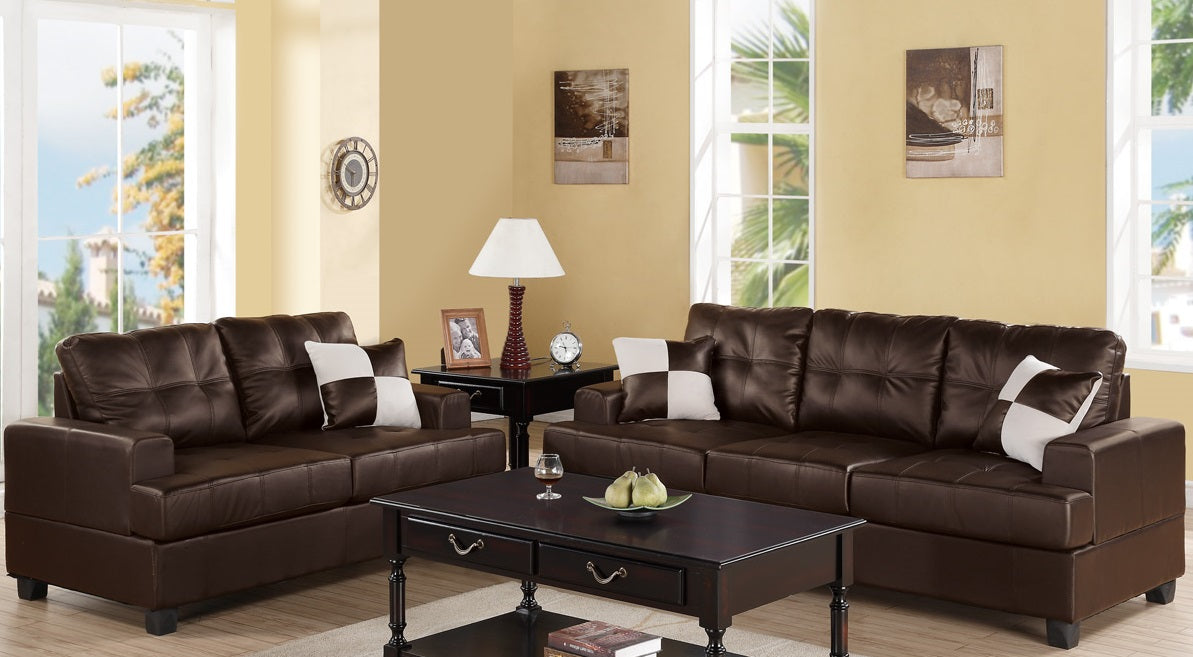 Poundex F7577 2 Pcs Espresso Bonded Leather Sofa and Loveseat Set ...