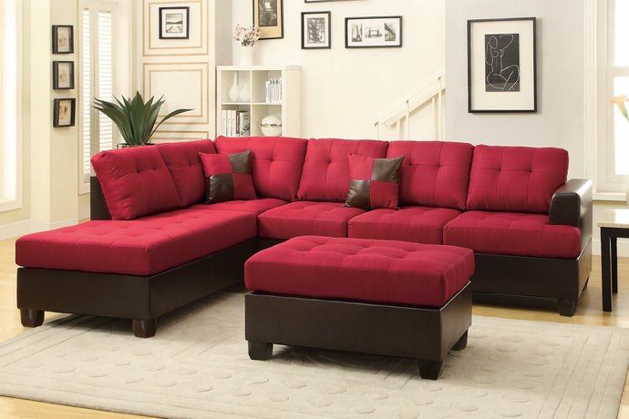 Poundex Carmine Reversible Chaise Sectional Sofa