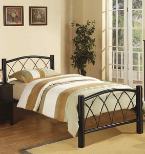 Poundex Black Bed Room Metal Platform Full Bed
