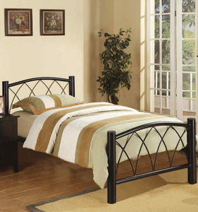 Poundex Black Metal Finish Twin Platform Bed