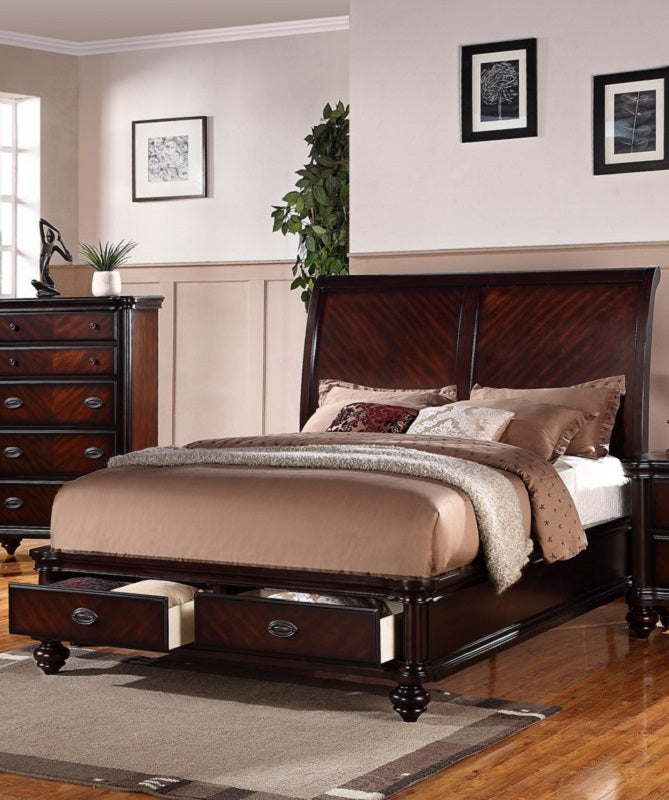 Cherry Wood California King Bed With Storage Drawers Poundex