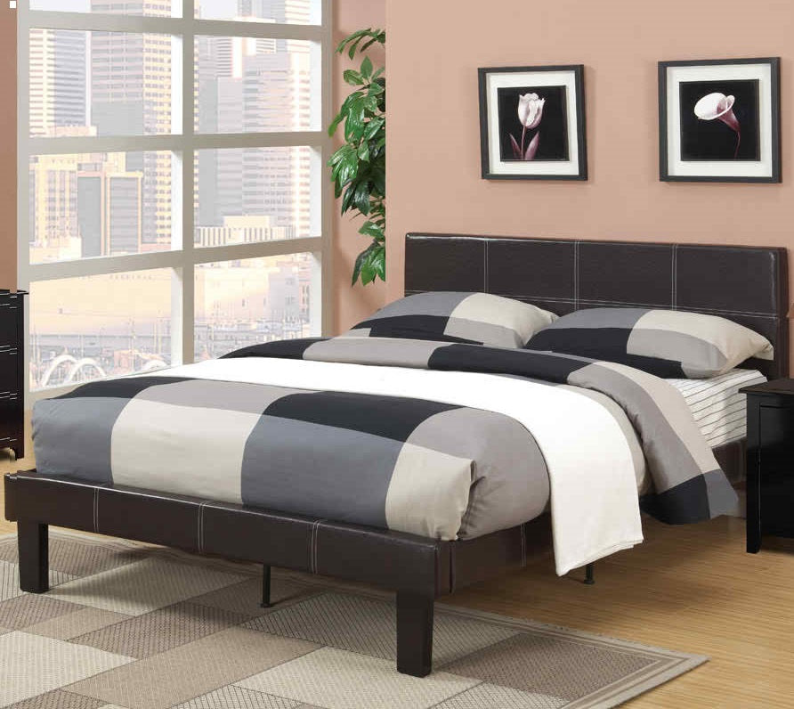 Poundex Espresso Faux Leather And Wood Finish Platform Full Bed
