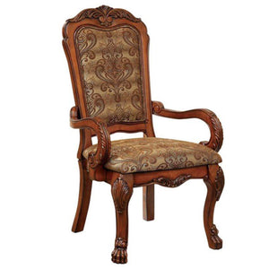 Furniture of America Medieve Traditional Antique Oak Arm Chair Set of 2