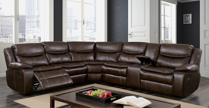 Furniture of America Pollux Brown Manual Recliner Sectional Sofa