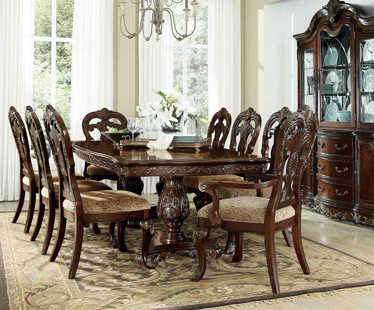 Homelegance Deryn Park Cherry Wood Finish 9 Piece Dining Table Set