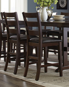 Coaster Holbrook Dark Brown Leatherette Counter Height Chair Set of 2