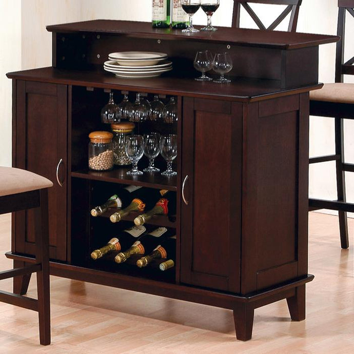 Coaster Bar Unit with Wine and Stemware Storage