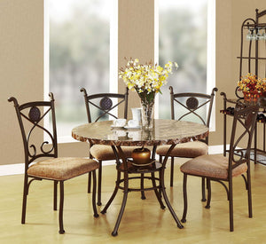 Acme 70555 Kleef 5 Pieces Brown Faux Faux Marble Round Dining Set