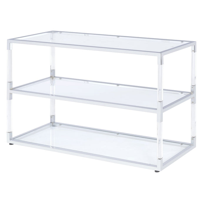 Acme 91245 Raegan Silver Metal Glass Finish Modern TV Stand