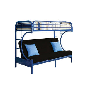 Acme Eclipse Navy Blue Youth Twin Full Futon Metal Bunk Bed