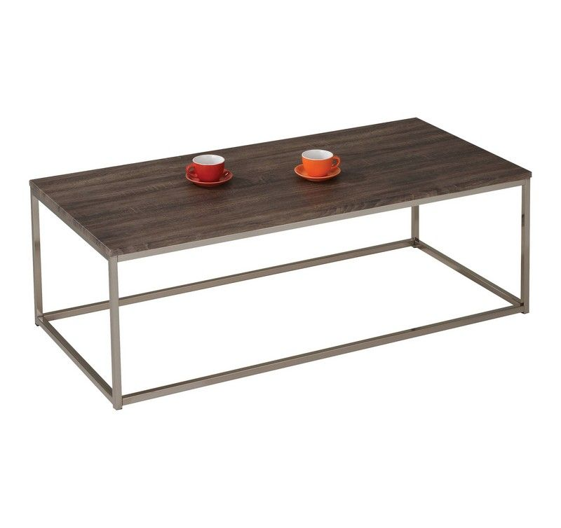 Acme Cecil Walnut and Brushed Nickel Coffee Table