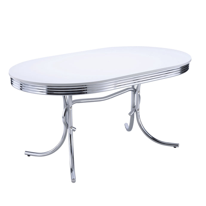 Chrome Plated Oval Retro White Finish Top Dining Table