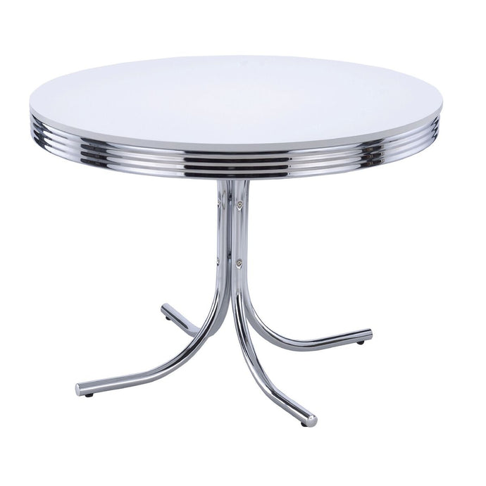 Homy Living Chrome Plated Round Retro White Finish Top Dining Table