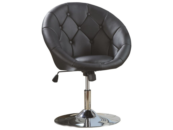 Black Leatherette Swivel Accent Chair
