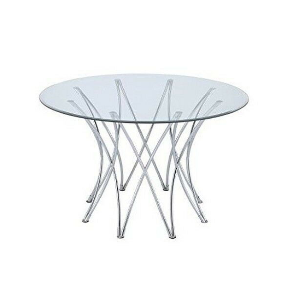 Cabianca Chrome Glass Top Dining Table