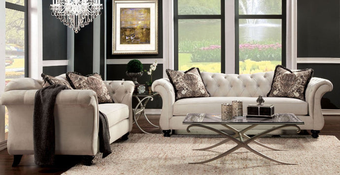 Antoinette 2 Pieces Traditional Ivory Premium Fabric Sofa Loveseat Set