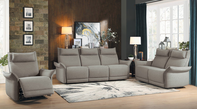 Homelegance Linette Taupe Polyester Finish 3 Piece Power Reclining Sofa Set