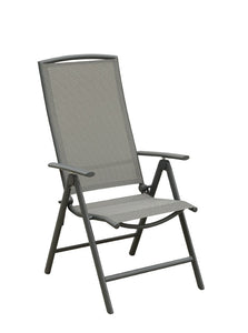 Poundex Gray Aluminum Finish 7 Positions Adjustable Outdoor Chair Set Of 2