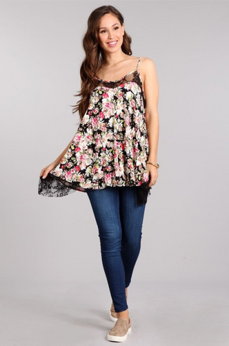Lace floral tank top