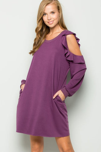 Purple rain cold shoulder dress