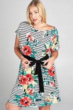 Floral stripes tie dress