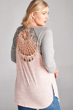 Crochet cutout baseball tee