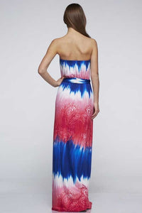 Red white blue strapless maxi