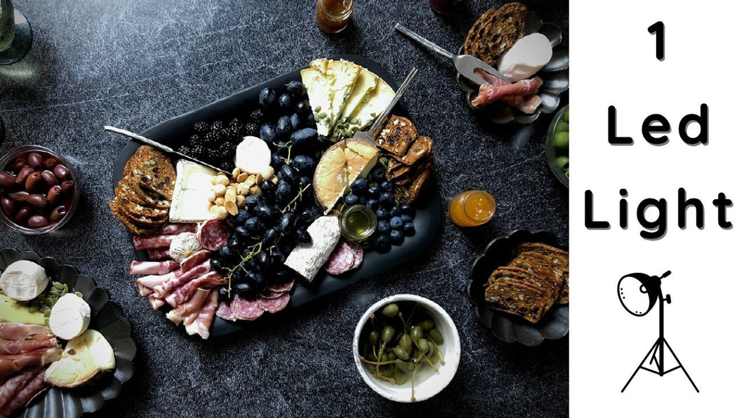 Photography a Charcuterie Board with 1 Led Light | Duo Boards | Food Photography | Monique Sourinho