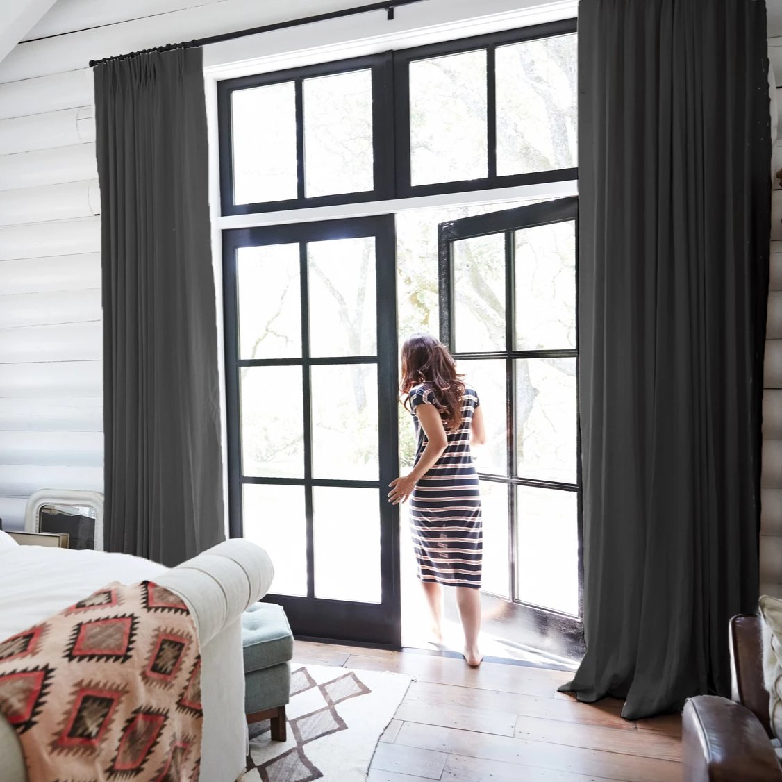 Madison Charcoal 100% Linen Custom Curtains