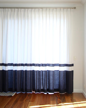 Soho Linen Drapes with Double Bottom Banding 30+ Colours Made to Order Curtains