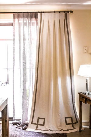 Athens Linen Drapes with Classic Border 30+ Colours Made to Measure Curtains