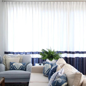 Madison with Double Banding in Snow and Navy 100% Linen Custom Curtains