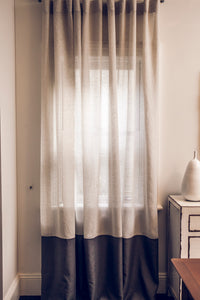 Urban Linen Sheers and solid linen bottom banding curtains Made to Order