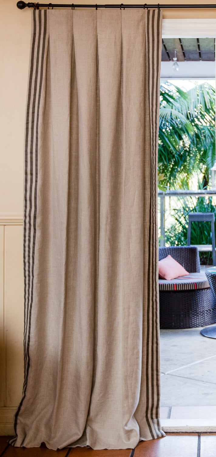 Manhattan Linen Drapes with Side Banding 30+ Colours Made to Order Curtains