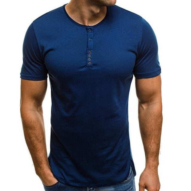 f24aa716 ... Slim Fitness Tee Tops Joggers. Fashion Casual T-Shirts Men Basic Color  Short Sleeve Henley Collar HipHop Button Decor Muscle