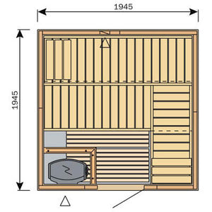Harvia Variant Square Sauna - 1945mm x 1945mm