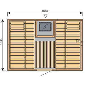 Harvia Variant Square Sauna - 2820mm x 1945mm - Central Door
