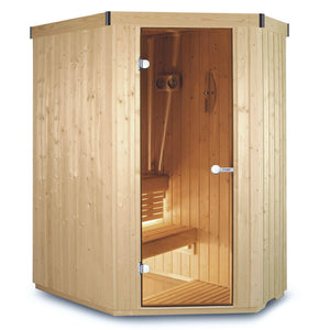 Harvia Variant Angle Sauna - 2380mm x 2195mm - Central Door