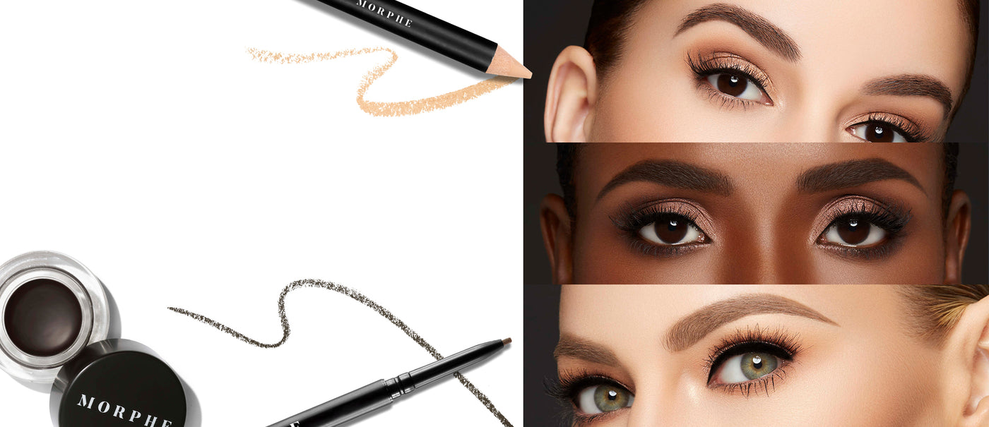 Brow Cream, Micro Brow Pencil, and Highlighter Stick. Brow and eye makeup close-up of 3 models.