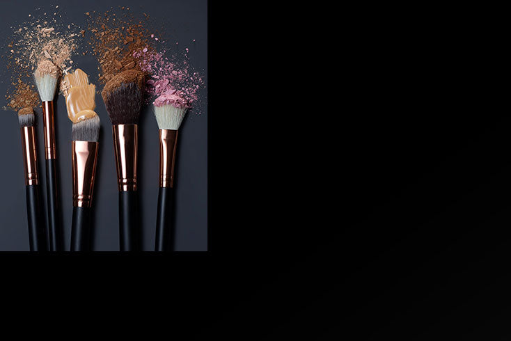 eye, lip and face brushes with makeup