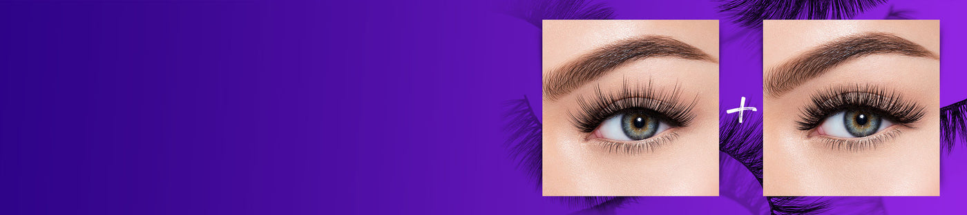 Premium lashes on model on purple background