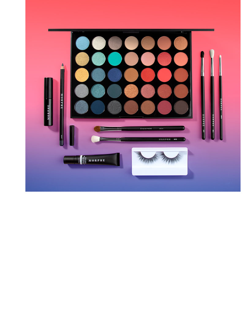 Daytime to Playtime 10-piece collection on pink and blue gradient background